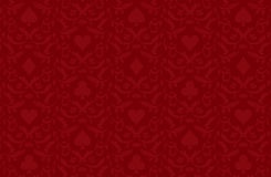 Luxury red poker background with card symbols Stock Photos