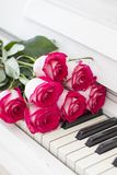 Luxury red roses on a piano. Bouquet of red roses and piano. Keys stock photos