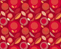 Luxury red 60s floral retro pattern. Geometry decorative style vintage flower seamless motif. vector illustration Stock Photos