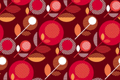 Luxury red 60s floral retro pattern. Stock Photos