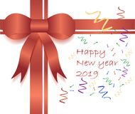 Luxury red satin ribbon on white background with Happy new year stock photography