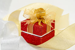 Luxury red sparkle gift box Stock Photography