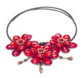 Luxury red stone necklace Royalty Free Stock Photos