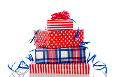 Luxury red white and blue gifts Royalty Free Stock Photo