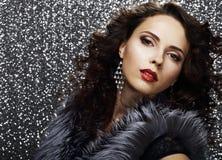 Luxury. Refined Elegant Brunette with Jewelry. Brilliance Royalty Free Stock Photo