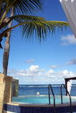 Luxury Relax. Hottub in central american resort overlooking the Atlantic Ocean Stock Photo