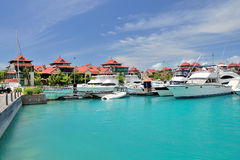 Luxury residency and marina in Seychelles. Royalty Free Stock Photos