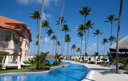 Luxury resort. One of the pool views on the luxury resort in Dominican republic stock photos