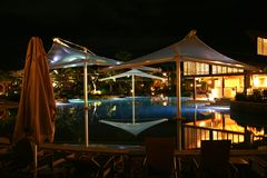 Luxury Resort. View of tropical luxury resort at night stock photos