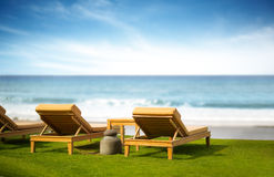 Luxury resort. Back view of sunbeds with azure sea Royalty Free Stock Photography