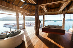 Luxury resort bar. Interior of tropical overwater bar in a luxury resort royalty free stock photos