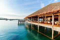 Luxury resort bar. Tropical overwater bar in a luxury resort stock photos