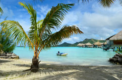 Luxury resort beach on Bora Bora stock photography
