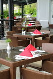 Luxury Resort Dining. Luxury al fresco dining settings at resort hotel royalty free stock photography