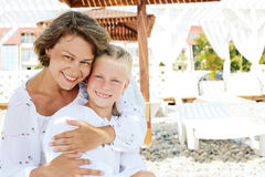 Luxury resort happy family relaxing . Stock Image