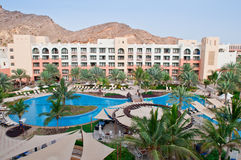 Luxury Resort Hotel. A luxurious resort in the desert with large pool Royalty Free Stock Photos