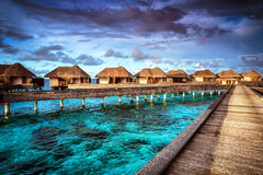 Luxury resort. Many cute bungalow on the water, amazing view, beautiful coral under transparent water, summer holidays concept Stock Image