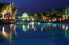 Luxury resort at night. Swimming poool in Sharm el Sheikh - Egypt Royalty Free Stock Photos