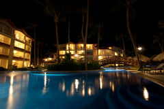 Luxury resort at night. One of the pool views on the luxury resort in Dominican republic, shot at night stock images