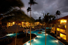 Luxury resort at night stock photos
