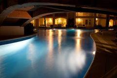 Luxury resort at night Stock Images