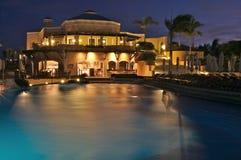 Luxury resort at night stock image