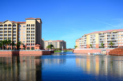 A luxury resort in Orlando. Lake and building in a luxury resort in Orlando Florida Royalty Free Stock Photography