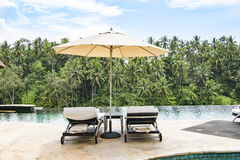 Pool in luxury resort in the jungle of Bali royalty free stock image
