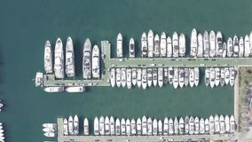 Luxury port zenital aerial stock video footage
