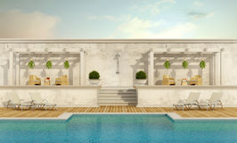 Luxury resort with pool. Gazebo and garden furniture - 3D Rendering Royalty Free Stock Photo
