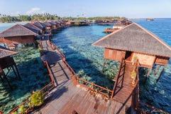 Luxury resort. Water bungalow, water villa, Overwater Bungalow, Deluxe Water Villas Stock Image
