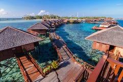 Luxury resort. Water bungalow, water villa, Overwater Bungalow, Deluxe Water Villas Royalty Free Stock Photo