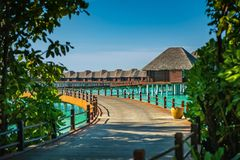 Luxury resort with water villas in maldives, hotel resort. With beautiful ocean stock photos