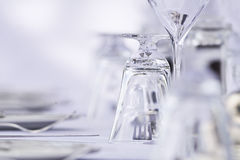 Luxury restaurant setting. Wine glasses in a luxury restaurant Royalty Free Stock Image