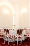 Luxury restaurant table and chairs Royalty Free Stock Photo