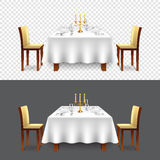 Luxury restaurant table for two  vector. Luxury restaurant table for two realistic  vector Royalty Free Stock Image