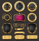 Luxury retro badges gold and silver collection  illustration. Luxury retro badges gold and silver collection Royalty Free Stock Photography