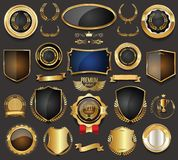 Luxury retro badges gold and silver collection vector illustration Stock Photos