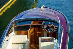 Luxury retro style wooden motor boat Stock Photos