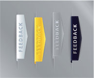 Luxury ribbon feedback icons - arrows for your website. Gold, si Stock Image