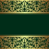 Luxury rifle-green Background with golden Borders. Luxury rifle-green Background decorated a golden ornamental Border Royalty Free Stock Image