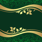 Luxury rifle-green Background with golden floral B Stock Image