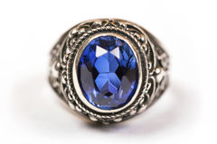 Luxury ring with blue sapphire  on white background Stock Image