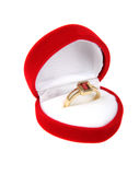 Luxury ring in red box. Using as  Love or Valentine Concept Stock Image