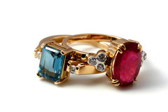 Luxury rings topaz pair Royalty Free Stock Image