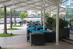 Luxury riverside restaurant near Chao Phraya river in Bangkok Royalty Free Stock Images