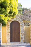 Luxury rock and wood gate as an entrance to the house Stock Images