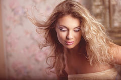 Luxury romantic girl fashion model Stock Image