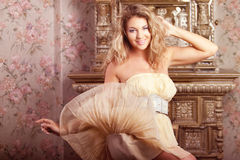 Luxury romantic girl fashion model Stock Photos