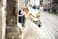 Luxury romantic happy bride and groom celebrating marriage on th Stock Image